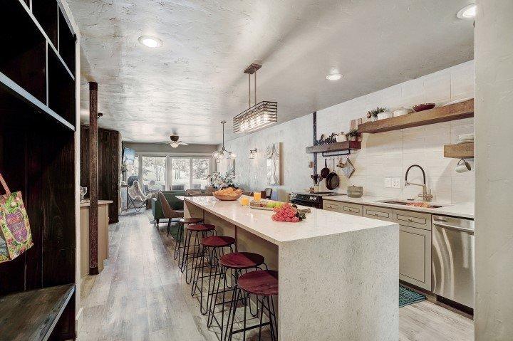 105 S Park Ave-Breckenridge Home For Sale 111 Sawmill Condos Kitchen Counter Island