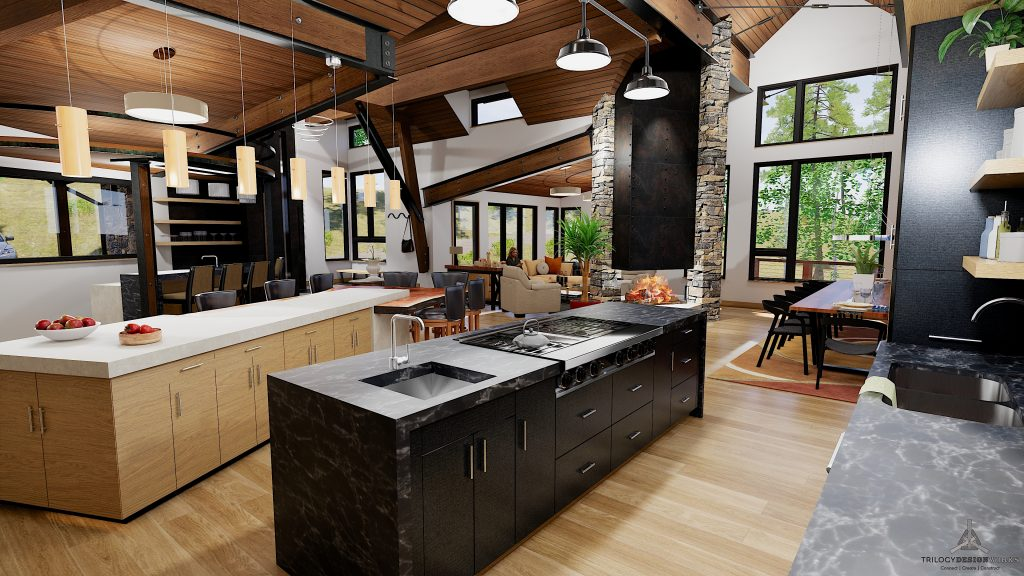 Kitchen Rendering of Modern New Construction Home at 1144 Discovery Hill in Breckenridge Colorado listed by Dina Sanchez
