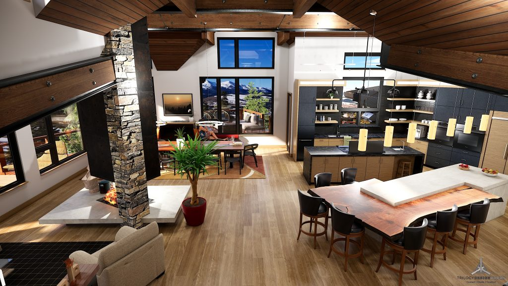 interior rendering of modern new construction home at 1144 Discovery Hill in Breckenridge Colorado listed by Dina Sanchez