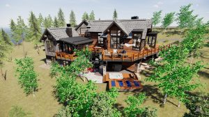 Exterior Rendering of Modern New Construction Home at 1144 Discovery Hill in Breckenridge Colorado listed by Dina Sanchez